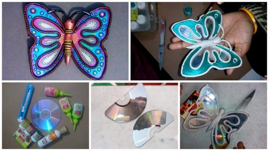 How To Make Butterfly From Waste Cd Simple Craft Ideas