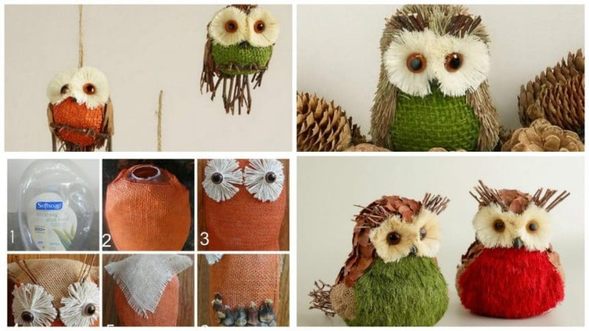How to make owl from scraps of burlap and cones