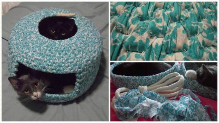 How to make cat house using sweaters