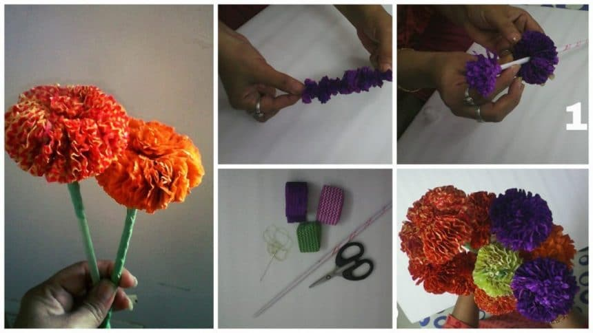 How to make marigold flower from ribbon
