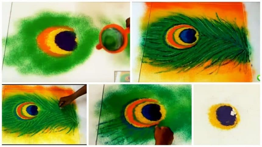 How to use rangoli colours for shading the peacock feather