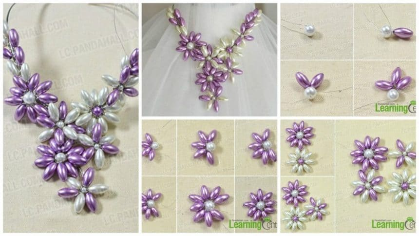 How to make a chunk orchid pearl flower necklace