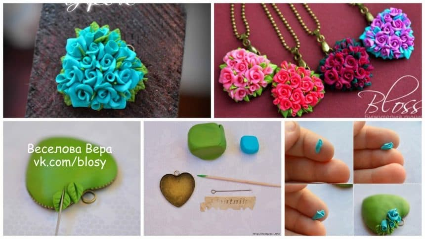 How to make rose flower pendent for valentines day