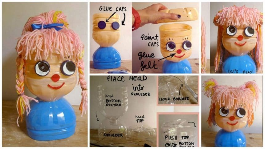 How to make plastic bottles hairstyling doll