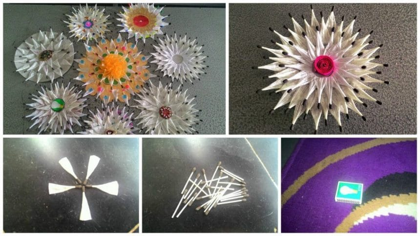 How to make flower from matches stick