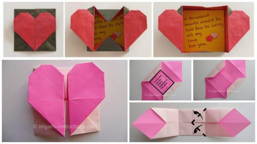 "How to make origami paper ""heart gift box with secret message"""