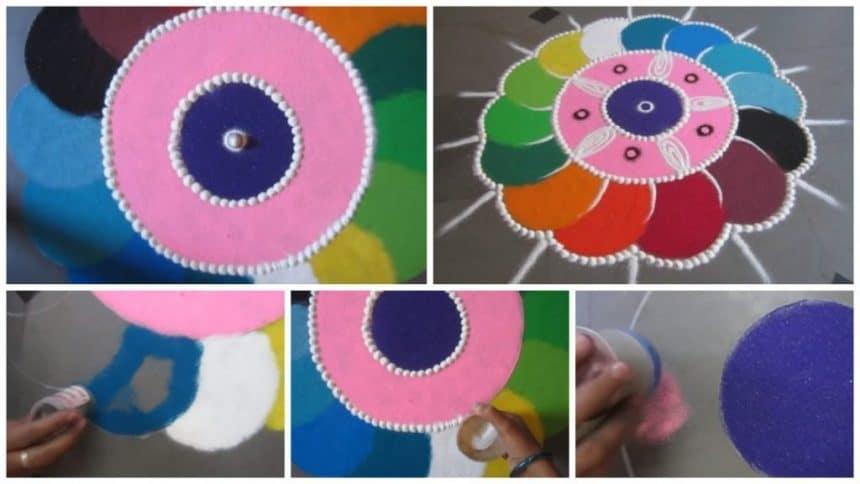 New rangoli making flower design