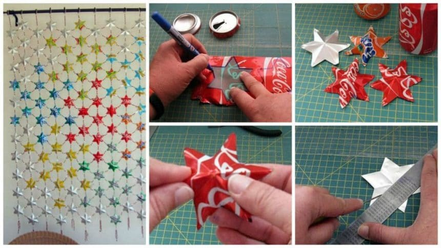 How to make panel curtains from beer cans and similar