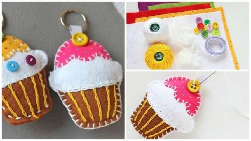 How to Make Keychain Felt Cupcake