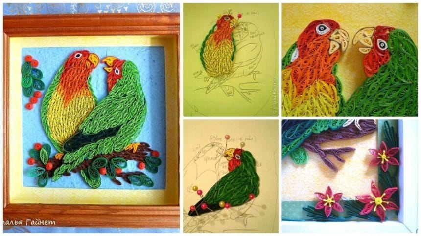 How to make Lovebirds from quilling-Happy couple
