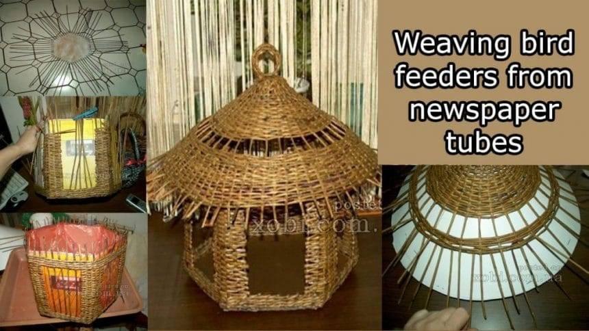 Weaving bird feeders from newspaper tubes