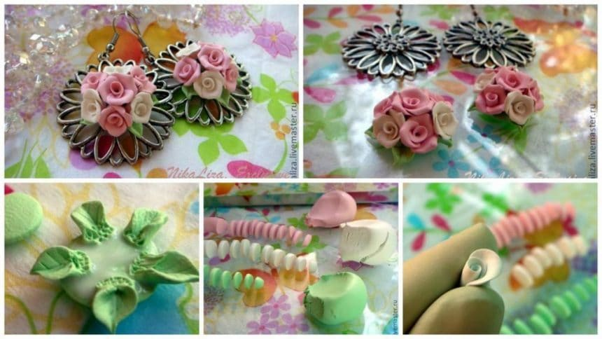 How to make earrings with delicate bouquets of roses