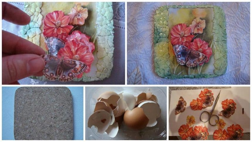 How to make decoupage panel from egg