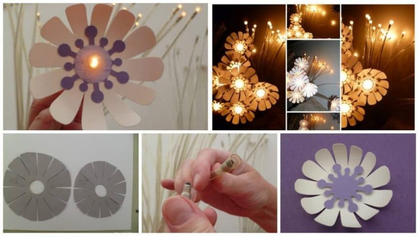 How to make flower night lamp made of cardboard