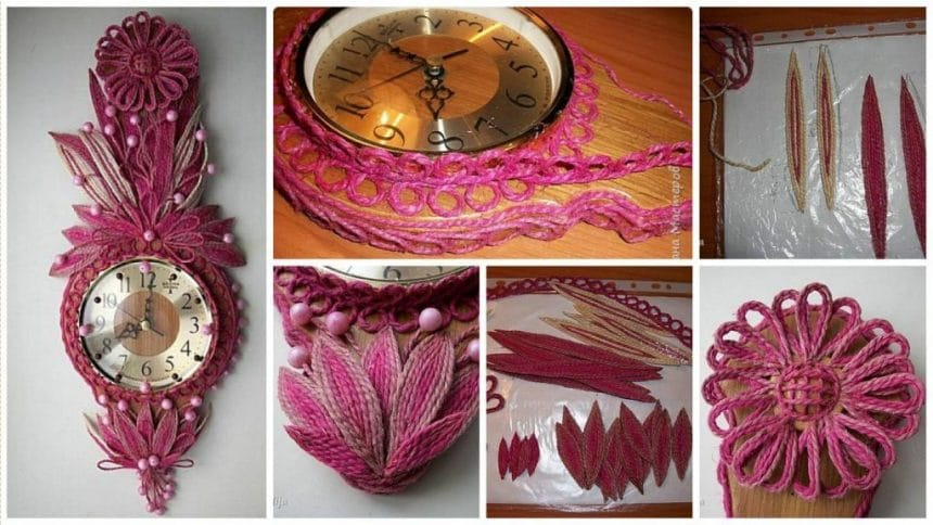 Decorating a wall clock with the help of jute ropes