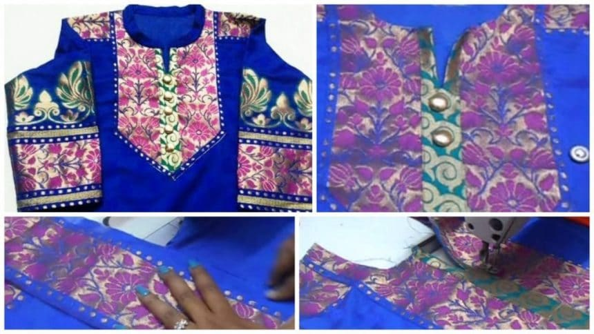 How to make Designer Neckline Kameez