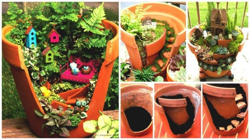 Miniature multi-level gardens with Broken Pots