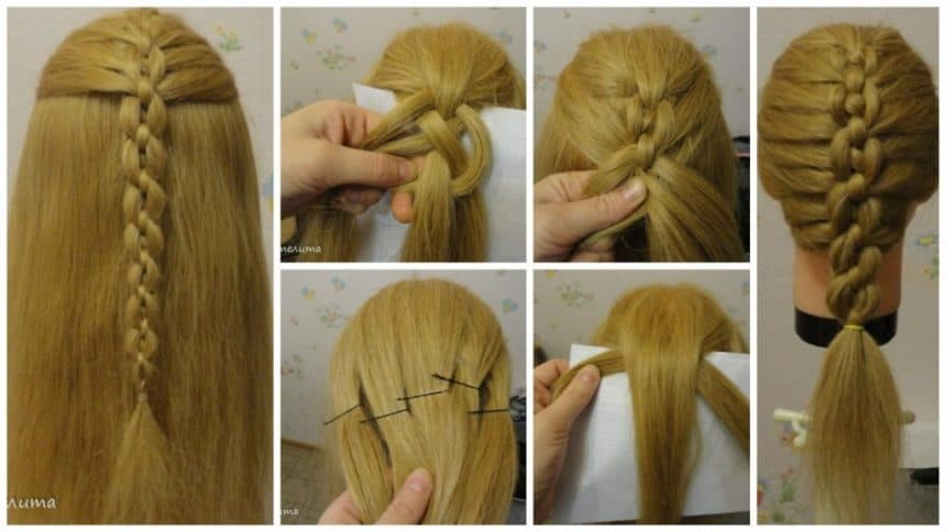 How to make braided chain pigtail hairstyle