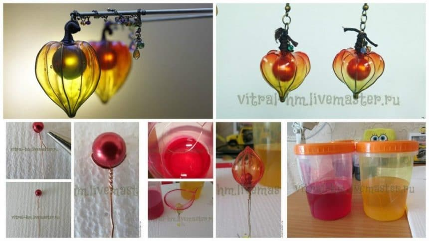 "Making earrings ""Sunny cape gooseberry""."