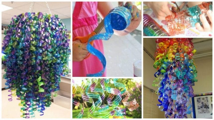 plastic bottles into colorful flower petal art