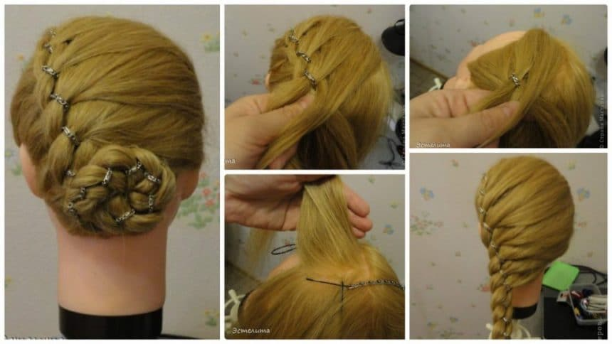 How to make a braid 4 strands with a chain hairstyle