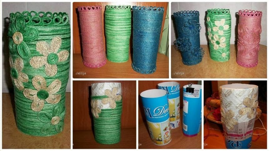 How to make vase from jute rope