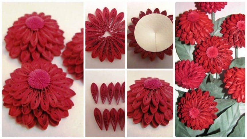 How to make quilling zinnias