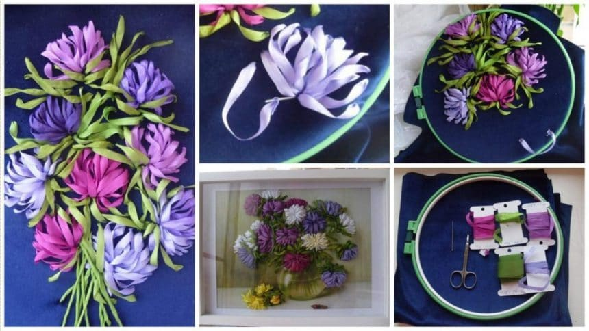 How to make ribbon embroidery flower