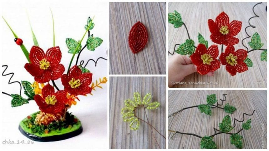 How to make flower from beads