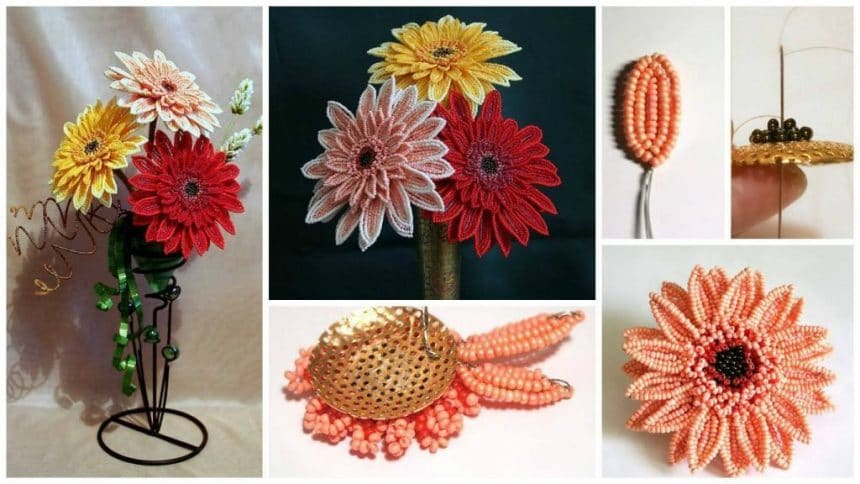 How to make gerbera flower from beads