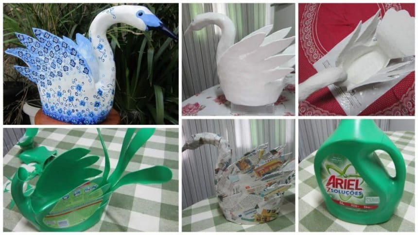 How to make swan for garden from plastic bottle
