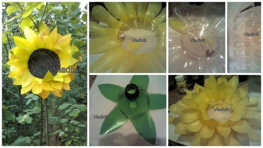How to make sunflower from plastic bottle