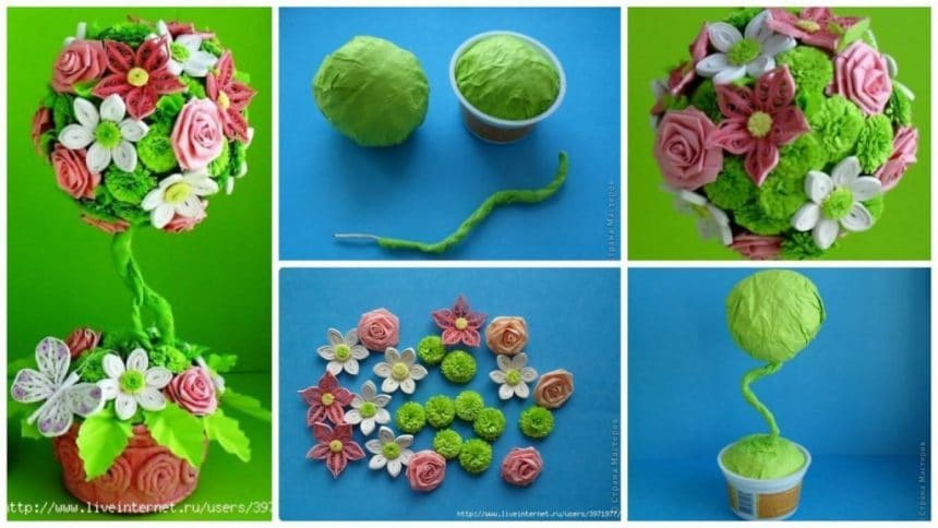 How to make quilling topiary