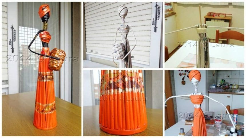 How to make african statuette made with paper straws