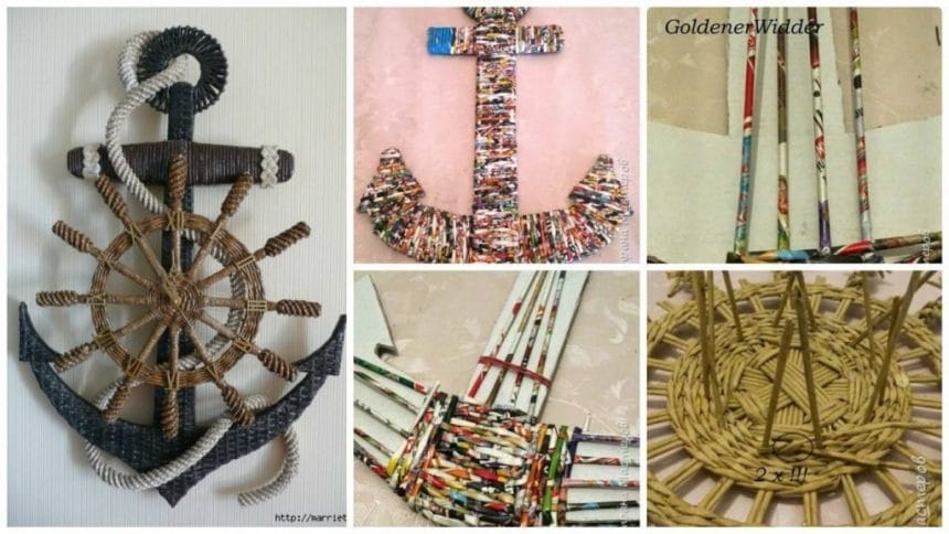 How to make watch anchor wall art from newspaper tubes