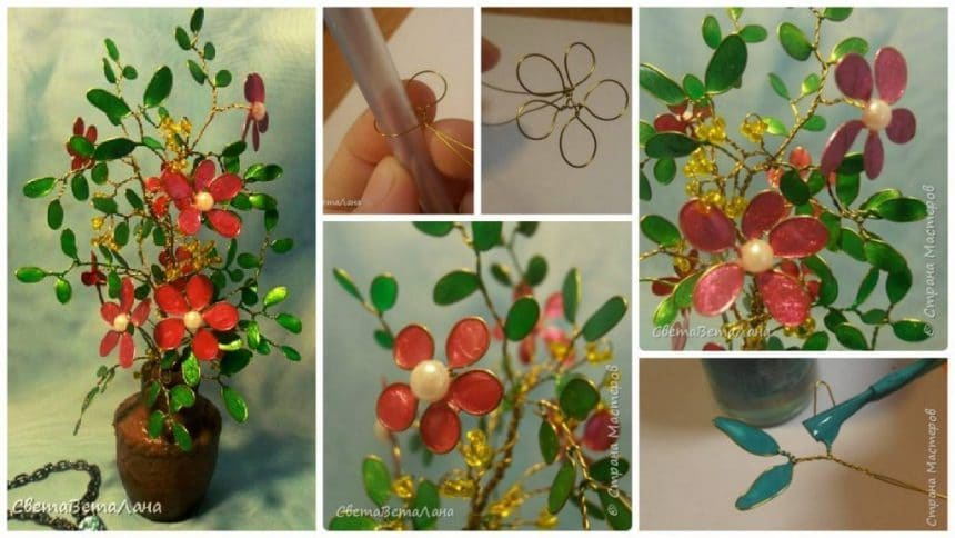 How to make flowers from wire and nail polish