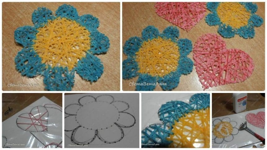 How to make coasters from thread flower