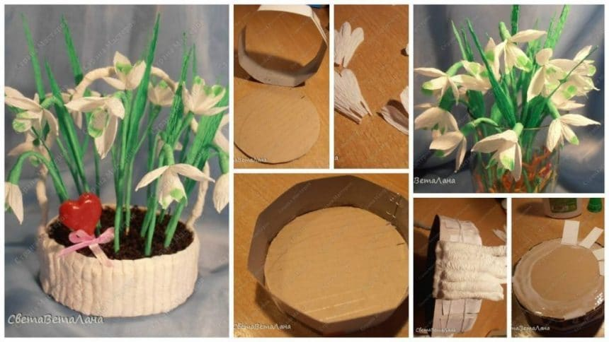 How to make snowdrops flower basket