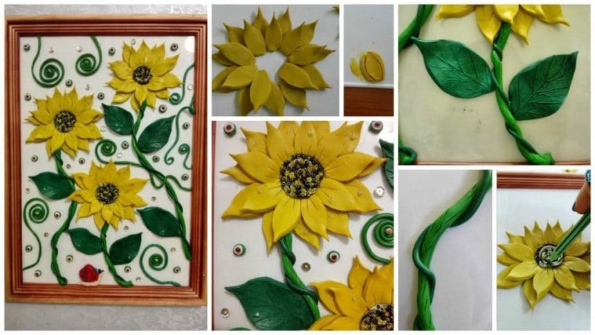 """How to make picture from clay decorated with beads and sequins """"Sunflowers"""""""