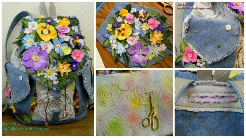 How to make denim backpack with flowers