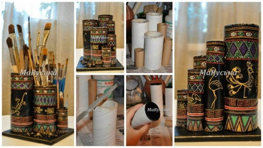 How to make stand under the brush of the cardboard rolls