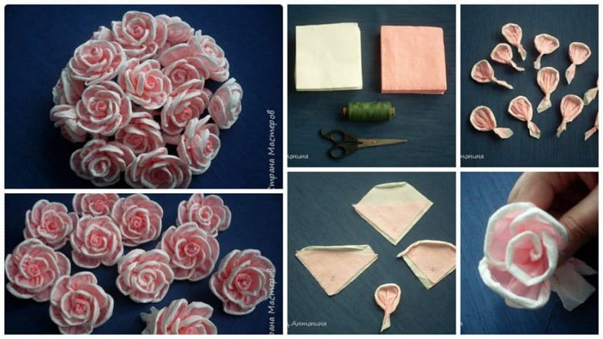 How to make roses from ordinary paper napkin