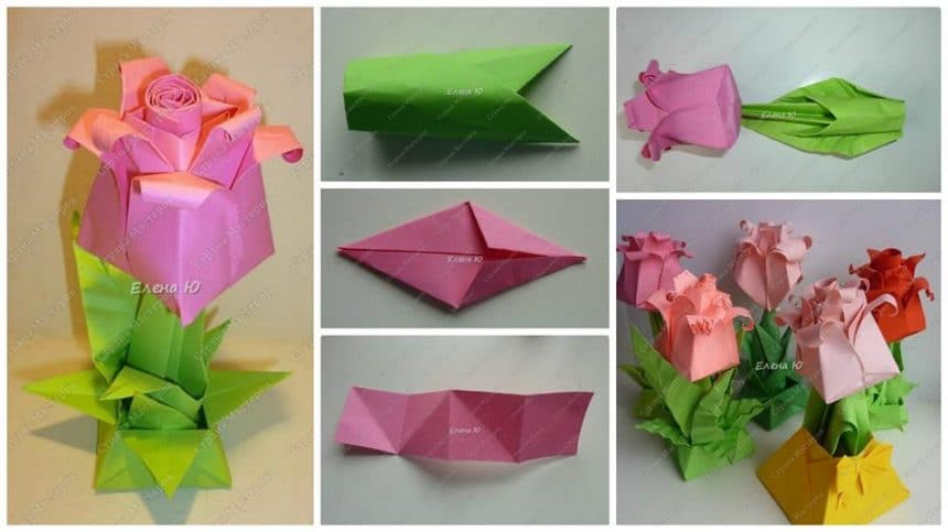 How to make origami rosebud in a flowerpot