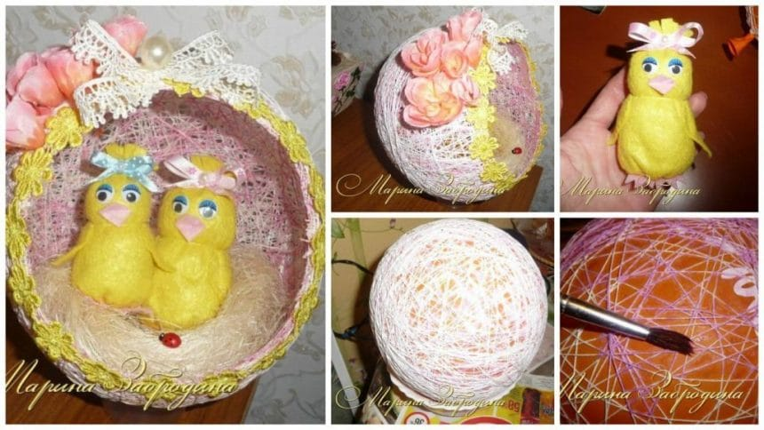 How to make egg from threads and hickens of thin felt