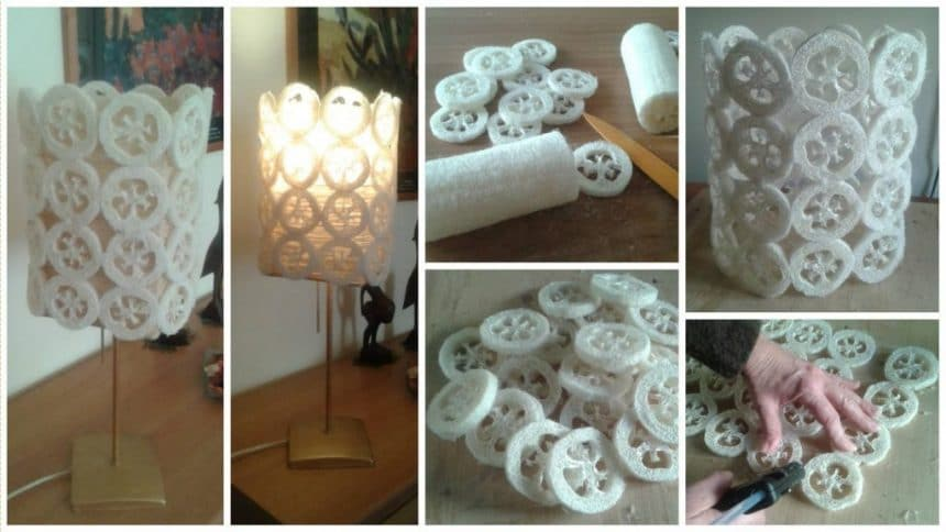 How to make Lamp with sponge Luffa