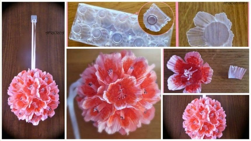 How to make flower from recycled  eggs containers of plastic eggs