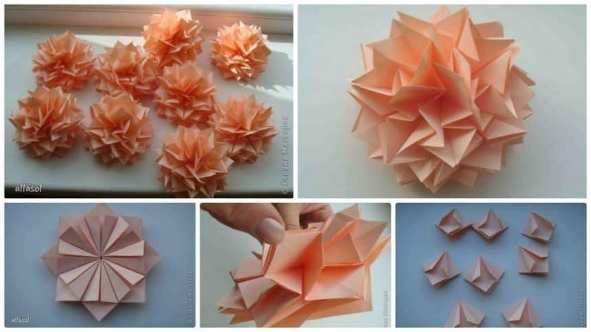 How to make origami dahlias
