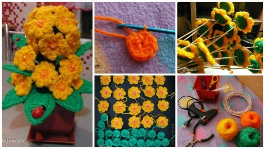 How to make knitting flower