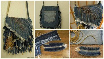 How to make feather handbag from old jeans