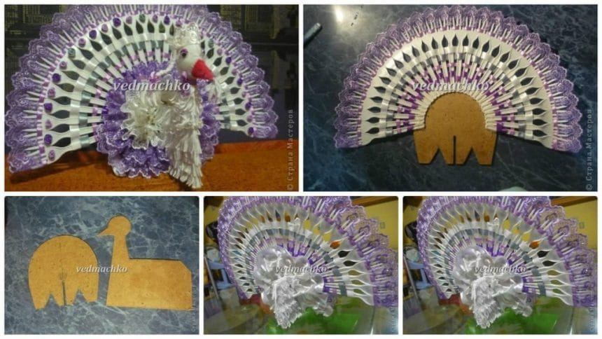 How to make peacock form ribbon and plastic spoon fan